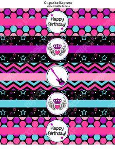 INSTANT DOWNLOAD diy Rockstar Girl Birthday Party  PRINTABLE Water Bottle Labels pink teal purple black guitar rock star. $4.00, via Etsy.