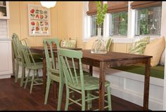 In the second season of this cottage makeover series, design star, Samantha Pynn, brings her approachable style to the country where she and her design team refresh 13 well-loved but tired spaces. Beach House Kitchens, Home Kitchens, Dining Bench Seat, Painted Chairs, Dining Area, Dining Rooms, Home Photo, Cozy House, Hgtv