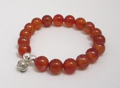 Lotus Sterling Silver Charm Carnelian Bracelet Tangerine Chakra Gemstones Yoga Mala Beaded Meditation Worry Beads Chakra Fertility Jewelry - pinned by pin4etsy.com