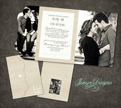 Wedding Invitation  Boutique Tri Folded Design  TEMPLATE by Jeneze, $10.00