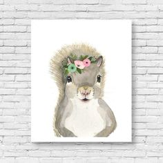 Forest friends : Flower crowned squirrel This is a print of my original watercolor painting. The colors are rich and vibrant and the print looks so much better in real life. You can add it to any set by swapping. I can flip it right side . Just give me a notice at note to seller section.