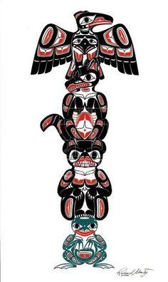 Totem by Richard Shorty – Fish Creek Company Haida Kunst, Inuit Kunst, Arte Inuit, Arte Haida, Haida Art, Inuit Art, Haida Tattoo, 1 Tattoo, Native American Totem