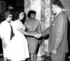 Algerian Revolutionaries and Resistance Fighters Djamila Bouhired and Zohra Drif with Egyptian President Gamal Abdulnasser - 10 October 1962