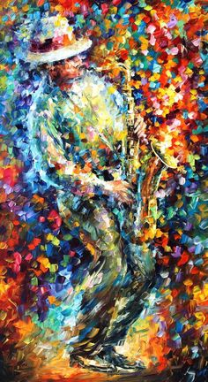 Saxophonist — PALETTE KNIFE Figure Oil Painting On Canvas By Leonid Afremov