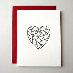 Geometric heart card paired with a red envelope: the perfect modern valentine.