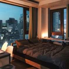 Interior design is the best thing you can do for your home Bedroom Night, Cozy Bedroom, White Bedroom, Bedroom Decor, Bedroom Furniture, Bedroom Ideas, Apartment View, 1 Bedroom Apartment, Dream Apartment