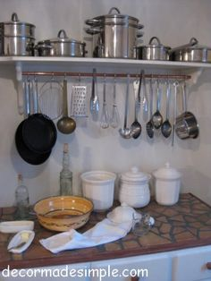 No cabinet space? No problem. I'll build this cute homey pots-and-pans rack with the help of Urban Ore.