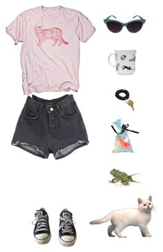 """animals and their pet human"" by origami-kitten ❤ liked on Polyvore featuring Retrò, Converse, women's clothing, women's fashion, women, female, woman, misses and juniors"