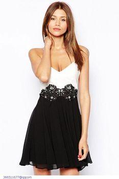 R nouvelle robe de renda blanc noir Two Tone brodé Backless patineur courte en mousseline de soie robe LC21713 roupas femininas cher amour -