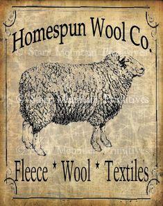 Primitive Sheep Homespun Wool Co Jpeg Digital Image Pantry Label Feedsack Logo for Pillows Labels Hang tags Magnets Ornies on Etsy Primitive Labels, Primitive Sheep, Primitive Folk Art, Primitive Crafts, Primitive Signs, Primitive Christmas, Country Christmas, Christmas Christmas, Vintage Labels