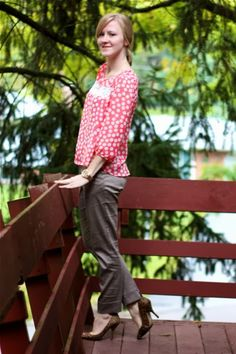 Work it: Workin' pink polka dots  Great Blog with everyday work outfits!