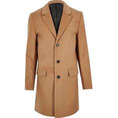 River Island Tan smart overcoat ($97) ❤ liked on Polyvore featuring men's fashion, men's clothing, men's outerwear, men's coats, coats, tall mens coats and mens tan coat