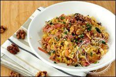 Coquillettes façon risotto à l'huile de truffe, jambon cru et noix
