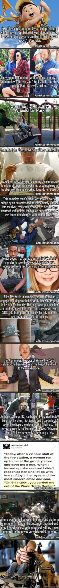 This makes me tear up! These are wonderful to read! Faith restored!!