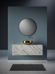 waschtisch-aus-marmor-badezimmerideen - The world's most private search engine Bad Inspiration, Bathroom Inspiration, Bathroom Flooring, Bathroom Furniture, Bathroom Marble, Mirror Bathroom, Mirror Room, Marble Bath, Bronze Bathroom