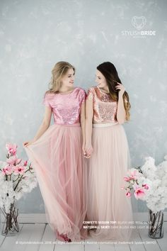 Blush Sequin Bridesmaids, Tulle Dress for Bridesmaids in Rose Gold and Blush Sequin Top, Prom Sequin Dress Plus Size by StylishBrideAccs on Etsy Tulle Skirt Bridesmaid, Sequin Bridesmaid, Modest Bridesmaid Dresses, Tulle Dress, Sequin Dress, Dress Skirt, Tulle Wedding, Wedding Dresses, Gold Sequin Top