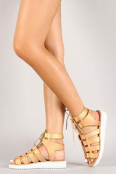 Bamboo Metallic Cutout Lace Up Gladiator Flatform Sandal