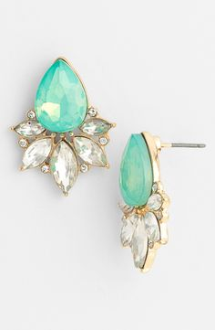 Sparkly mint teardrop stud earrings for prom.