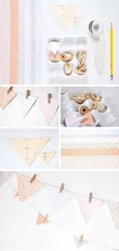 make bunting with craft paper and tiny little clothespins.