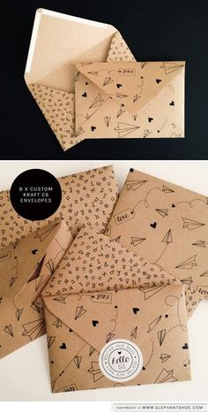 DIY origami money envelopes 12 Artistic Envelope Ideas - The Artistic Envelope Ideas Envelope Art, Envelope Design, Origami Envelope, Origami Letter, Envelope Pattern, Art Postal, Kraft Envelopes, Cute Envelopes, Paper Envelopes