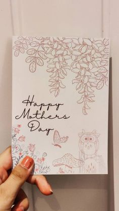 Blue Envelopes, Paper Envelopes, Mothers Day Cards, Happy Mothers Day, Small Business Uk, Hand Designs, Owl, Floral Card, Etsy Shop
