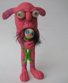 Lowbrow one of a kind clay ooak monster art doll sculpture by mealy monster land. $42.00, via Etsy.