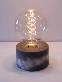"Stylische Betonlampe ""Grönland"" mit Edison Glühbirne / stylish lamp made of concrete, hipster lamp by Betonschmiede via DaWanda.com"