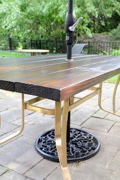 DIY Wood Top Exterior Table