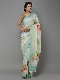Beige-Green Digital Printed Handwoven Linen saree