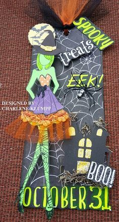 Love the doll on this one! Halloween Scrapbook, Halloween Tags, Fall Halloween, Halloween Crafts, Prima Paper Dolls, Prima Doll Stamps, Fall Paper Crafts, Rena, Paper Tags