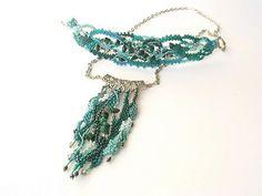 Teal Freeform Peyote Bracelet Beadwork bracelet OOAK Beaded