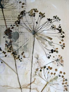 Drawing - Mandy Pattullo l Old newspaper, a bit of white water color, apply paint to flowers or plants and press down. Draw instead of real plants. Art Du Collage, Mixed Media Collage, Nature Collage, Nature Artwork, Mixed Media Painting, Arte Floral, Encaustic Art, Natural Forms, Botanical Art