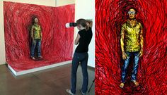 Artist Alexa Meade turns 3D into 2D by applying paint directly on her subjects instead of on a canvas.