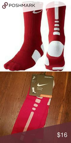 Nike Elite Basketball Cushioned Men's Socks Brand new with tags. Men's shoes size 8-12. Color: Red Varsity and White. Dri-Fit. Please use offer button to purchase. Nike Underwear & Socks Athletic Socks
