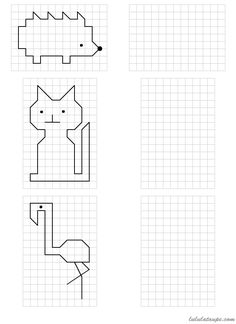 Drawings simple to reproduce on grid, CP - Graph Paper Drawings, Graph Paper Art, Math Patterns, Doodle Patterns, Coding For Kids, Math For Kids, Math College, Symmetry Worksheets, Visual Perception Activities