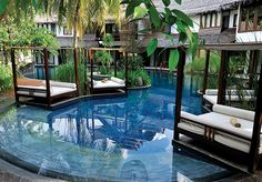 Villa Samadhi, Kuala Lumpur, Malaysia: Four-poster day beds are scattered around the pool lounge for sunbathing and snoozing. Kuala Lumpur Travel, Kuala Lumpur Beach, Vacation Places, Dream Vacations, Kuala Lampur, Pool Lounge, Dream Pools, Cool Pools, Sweet Home