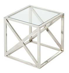 Enterprises Urban Designs Square Nickel And Glass Accent Table (Silver)