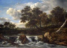 - Jacob van Ruisdael  - Landschap met waterval - 1660-1670 - Amsterdam - Hij kijkt over het landschap heen, ook is er een clair-obscur. De blauwe kleur van de hemel is in een mooi contrast met de aardse kleuren. Het lijkt erop dat het landschap gedeeltelijk verzonnen is omdat er in Nederland geen watervallen zijn. Je ziet duistere wouden met een zwaarmoedige indruk ook is het heel fijn geschilderd net als Rembrandt dat doet.