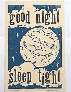 Good Night Hand Printed Letterpress Poster by rollandtumblepress, $25.00