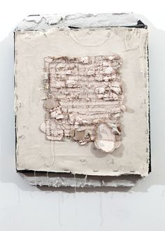 """Arthur Peña attempt 52 2013 canvas, staples, drywall, pine, scorched pine, hydrocal 13 1/4"""" x 18"""""""