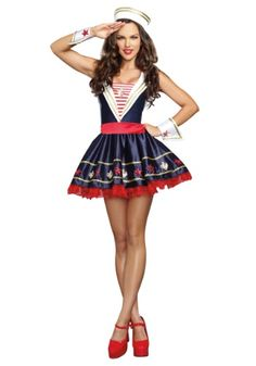Look from the shore to the sea and you may just see this Women's Shore Thing Sailor Costume!