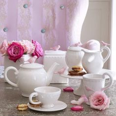 Flight of Fancy Teapot Cream - Eating and Entertaining - Homeware - gorgeous white with a little pink bird!