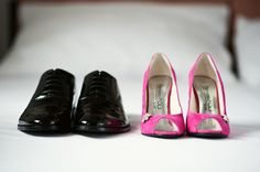 our big magenta wedding day, magenta wedding shoes