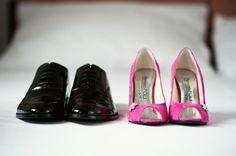 our big magenta wedding day, magenta wedding shoes