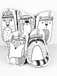 Set of 5 stuffed toys - Scandinavian Pillows - 5 stuffed animals: Bear, Beaver, Raccoon, Fox and Wolf For Kids and Babies, nursery decor Stuffed Animals, Stuffed Toys, Scandinavian Pillows, Cuddle Pillow, Diy Y Manualidades, Baby Nursery Decor, Babies Nursery, Baby Accessoires, Playroom Decor