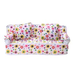 Flower Soft Sofa Couch With 2 Cushions For Doll House Accessories