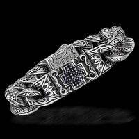 Scott Kay Silver Unkaged Men's Black Sapphire Cross Bracelet