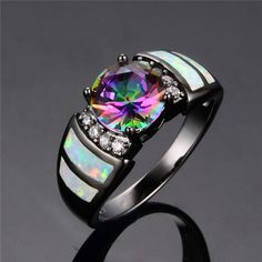 10KT Black Gold Filled Rainbow Opal CZ Size 6/7/8/9
