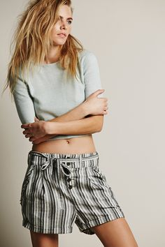 11 NEW Ways To Wear Shorts #refinery29  http://www.refinery29.com/shorts-outfits#slide4  Go Low-SlungCrop top season is well under way. But, when pairing a shorter shirt with shorts, it doesn't always have to be a high-waisted scenario. Instead, wear a T-shirt with a low-slung pair for a laid-back look.
