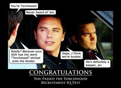 Torchwood Recruitment IQ Test by on DeviantArt Doctor Who Funny, Doctor Who Art, Doctor Who Quotes, Torchwood Funny, Writer Prompts, Captain Jack Harkness, David Tennant Doctor Who, Twelfth Doctor, John Barrowman